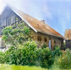Artist Michal Suffczynski watercolor painting of a house with lovely garden in front. Watercolor City, Watercolor Artists, Watercolor Artwork, Watercolor Landscape, Watercolor And Ink, Watercolor Lesson, Barn Art, Beautiful Buildings, Painting Techniques