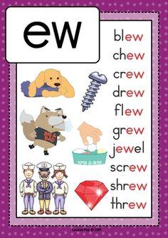 Digraph / Vowel Team EW: Phonics Word Work {Multiple Phonograms} by Lavinia Pop. Phonics Chart, Phonics Flashcards, Phonics Blends, Phonics Rules, Phonics Lessons, Phonics Words, Jolly Phonics, Kindergarten Reading Activities, Phonics Reading