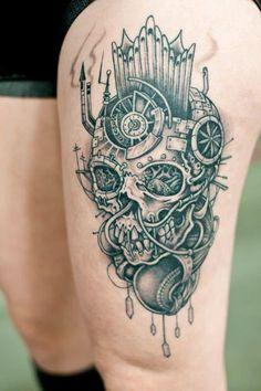 Awesome skull leg tattoo   http://tattoo-ideas.us/awesome-skull-leg-tattoo/  http://tattoo-ideas.us/wp-content/uploads/2013/07/Awesome-skull-leg-tattoo.jpg