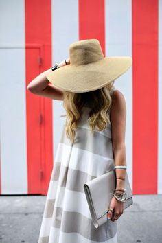 Perfect summer outfit...grey and white striped dress