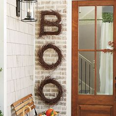 "Buy one letter, spell out a name or say, ""BOO"" for Halloween. The ""O"" makes a unique wreath. Each is hand made of natural birch twigs woven over a sturdy wooden frame. Twigs are naturally tough, so you can enjoy them year after year."