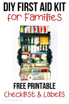 DIY First Aid Kit for Families with a Free Printable Checklist Free printable comprehensive list of things to include in your family's first aid kit. This article explains why, includes helpful links, and compares different products. First Aid Kit Checklist, Diy First Aid Kit, Survival First Aid Kit, Camping First Aid Kit, Emergency First Aid Kit, Emergency Preparedness Kit, Survival Tips, Survival Skills, Survival Quotes