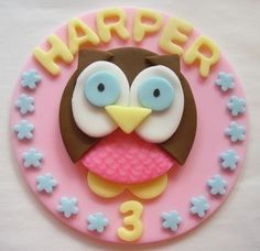 Items similar to Edible Owl Cupcake Toppers - Girl Owl Fondant Cupcake Decorations on Etsy Owl Themed Parties, Owl Birthday Parties, Birthday Cake Girls, Birthday Cookies, Birthday Ideas, 3rd Birthday, Owl Cake Toppers, Fondant Cupcake Toppers, Fondant Cakes