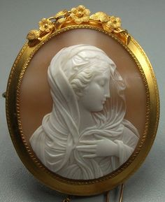 """Italian Cameos ~ """"Virgin Mary"""" - Sardonyx Shell Cameo Mounted In Gold - Italy Victorian Jewelry, Antique Jewelry, Vintage Jewelry, Nice Jewelry, Cameo Jewelry, Ivoire, Virgin Mary, Our Lady, Monogram"""