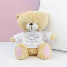 Our authentic Forever Friends Bear with a personalised T-Shirt, is the infamous original cute and cuddly character loved by all.
