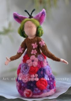 Needle felted Waldorf  Flowers Queen- standing doll-soft sculpture--needle felt by Daria LvovskyMade to custom order. $68.00, via Etsy.