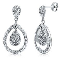 Sterling Silver Cubic Zirconia CZ Pear Shape Dangle Earrings from Berricle - Price: $77.99