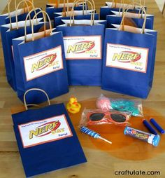 Nerf Party Favor Bags – suitable for younger kids! Nerf Party Favor Bags – suitable for younger children. Watermelon Birthday Parties, Birthday Party Treats, 9th Birthday Parties, 10th Birthday, Birthday Ideas, Nerf Cake, Kids Party Themes, Party Ideas, Diy Party