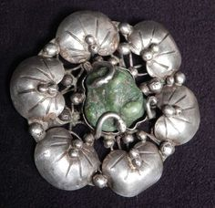 Mary Gage Arts and Crafts Sterling and Turquoise Brooch