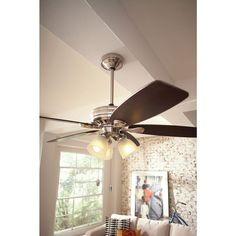 Brushed nickel Hunters and Brushed nickel ceiling fan on