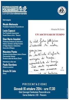 Un asciugar di tempo: presentazione oggi a Pescara del libro di Grazia Di Lisio