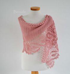 Pink merino crochet scarf / shawl lace K10 by Berniolie on Etsy, $89.00