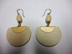 Aarikka Finland Vintage Earrings White Wood and Golden Metal Vintage Earrings, Pearl Earrings, Drop Earrings, White Wood, Finland, Costume Jewelry, Traditional, Jewellery, Metal