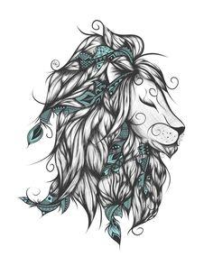 Poetic Lion Turquoise Art Print