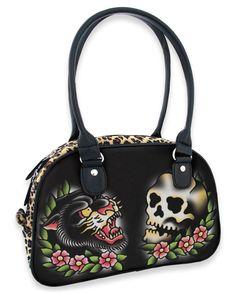Liquor Brand Handtasche Panther Skull.Tattoo,Pin up,Oldschool,Rockabilly Styles