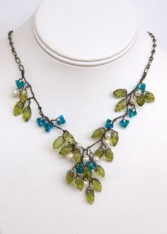 Green and Blue Beaded Necklace Green and by CherylParrottJewelry