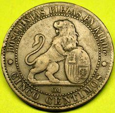 1870 SPAIN 5 Centimos STANDING LION w/ SPANISH SHIELD