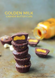 GOLDEN MILK CASHEW BUTTER CUPS. You must try these gems. Paleo and vegan-friendly, these cashew butter cups are a quick and healthy dark chocolate treat!