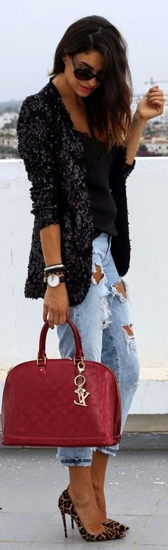 Street style fashion / karen cox. Winter Warm. Sequin Jacket with cutout jeans