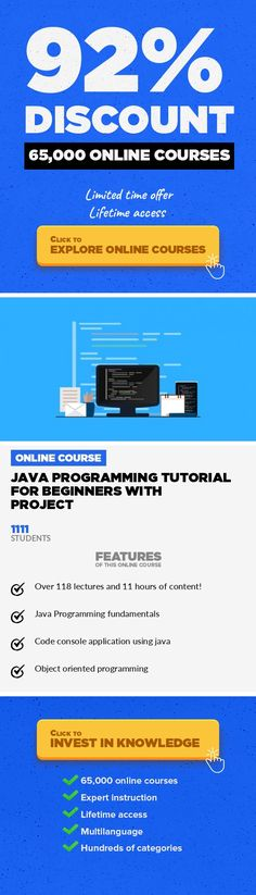 Java Programming Tutorial For Beginners With Project Programming Languages, Development #onlinecourses #skillspreschool #ClassCoursesThis is one of the best free tutorial on java, that we have created. Suitable for beginners, in depth knowledge is given This course is specially made for beginners, No prior programming knowledge required. ----------------------------------------------------------...