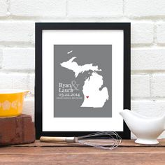 Michigan Wedding Gift, Custom State Map 8x10 Art Print, Personalized Engagement, US State Map One Year Anniversary Gift, New Home Art Print - pinned by pin4etsy.com
