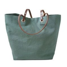 Type: Tote / Color: Green / Details: Leather Handles / Material:  Linen / Brand: J. Mastro Design Co. / Style: Linen and Leather Tote
