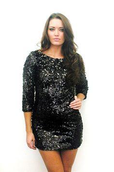 Black sequin plus-size dress.