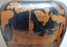 Ulises y las sirenas (cerámica ática, 480–470 a. C., Museo Británico).