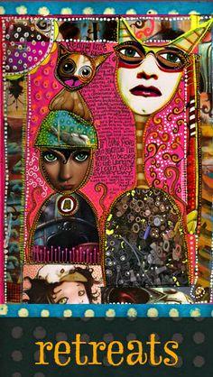 Teesha Moore, visual journal, fiber and more! Love her work! Mixed Media Artists, Mixed Media Collage, Collage Art, Art Journal Pages, Art Journals, Visual Journals, Collages, Magazine Collage, Altered Art