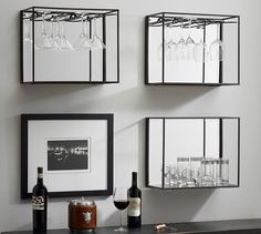"Mirrored Entertaining Shelves, Bronze | Pottery Barn Wine Bottle Shelf 18""x15""h x 9""d - $95 special (less 20% is $76)  Wine Glass Shelf 18""w x 15""h x 9""d - $95 special (less 20% is $76)"