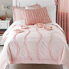 Kids' Bedding: Kids Pink Floral Appliqued Rose Bedding in Girl Bedding
