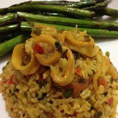 arroz integral con calamares