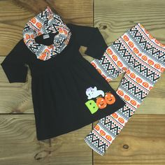 PRESALE-Baby Girl Outfit, Halloween 3 PC Scarf Set, Aztec Pumpkin Leggings, Scarf, Girl Clothes, Baby, Fall, Thanksgiving, Headband by MoxieGirlBoutique on Etsy