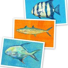 "Saltwater Fish Art - 3 Little Fishies Set No. 3 - 3 Prints 4"" x 6"" -Fish Wall Decor -Sea Life Art Prints -Beach House Art"