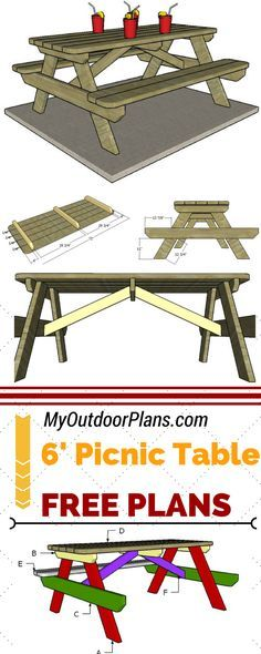 Check out these free plans for building a 6 foot picnic table! Learn how to build a 6 foot picnic table out of wood at MyOutdoorPlans.com #diy #picnictable