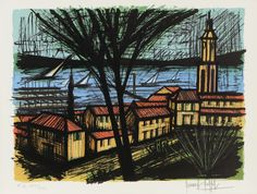Bernard BUFFET (1928-1999) LE VILLAGE DE SAINT TROPEZ. 1981 Lithographie Sold 1200€ with Artprecium #artauction