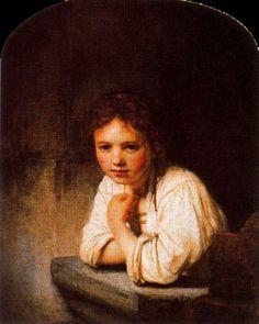 """PINTURA ::: """"Muchacha Apoyada en la Ventana"""", 1651 - REMBRANDT - Al contrario que la linia es una pintura de masas tonales"""