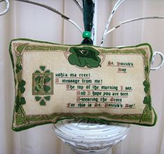 Paddys Day Message from Me Irish Ornament - Lavender Sachet // Green Shamrocks // Cream - Green // Gold Harps