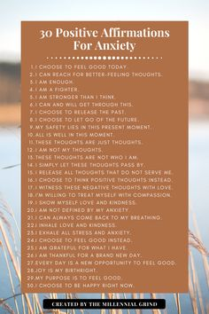 30 Positive Affirmations For Anxiety