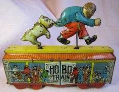Unique Art Hobo Train. Tin Wind Up toy from 1930s/ebay