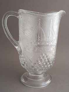 Beatty glass co. | Beatty Brady EAPG Admiral Dewey Commemorative Pitcher