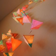 Paper Holiday Lights – THE FLAMINGO – handmade fairy lights in neon pink and orange, metallic copper, and aqua stripes - Babyshower Pink Cake Ideen Painted Paper, Hand Painted, Origami, Copper Lantern, Paper Crafts, Diy Crafts, Diy Paper, Light Garland, Holiday Lights