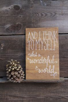 "Stained plywood ""wonderful world"" sign. Hand painted. Custom signs"