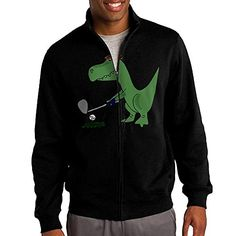 HEHE Mens Zipup Jacket Hooded Hoodies Dinosaur Playing Golf Size XXL Black >>> Find out more about the great product at the image link.