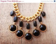 ON SALE Black Onyx Gemstones Drop Acrylic Round Beads Gold Plated Brass Chain Handmade Necklace