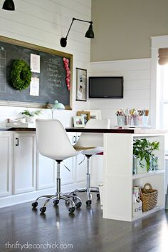 Office with huge DIY desk and built-ins - turn unused area in your home into multifunctional and beautiful spaces! Add a craft area, office space, art room, or homework place for your family!
