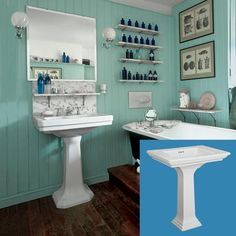 thisoldhouse.com | from How to Create a Vintage-Style Bathroom. Love the wall treatment & the worn wooden floors.