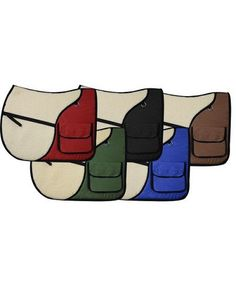 Showman English saddle pad with saddle pockets in rear for carrying beverages, food, or accessories. Made by Showman Products. Colors: Red, Green, Black, Blue, Brown