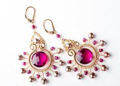 Gemstone Starburst Chandlier Earrings w/ Red by mosaicdesign, $210.00