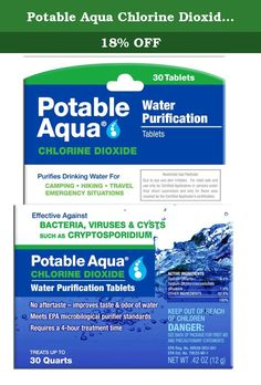 Potable Aqua Chlorine DioxideTablets, 30 Tablets. Potable Aqua the most trusted name in water purification products. Potable Aqua products provide time-tested, simple-to-use water treatment optiions for campers, backpackers and other outdoor enthusiasts. No aftertaste-improves the taste and odor of water.